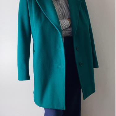 vintage wool turquoise winter jacket size xl by miragevintageseattle