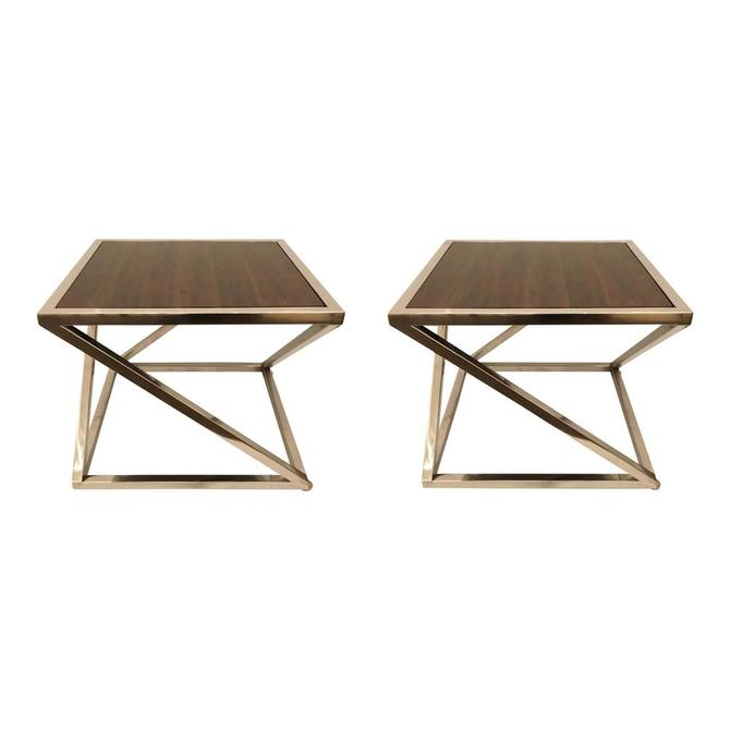 Organic Modern Interlude Home Wood and Chrome Side Tables Pair