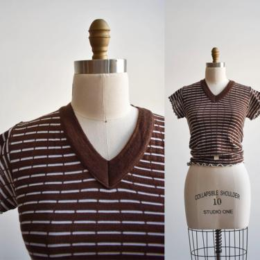 1970s Brown Striped Knit Tee by milkandice