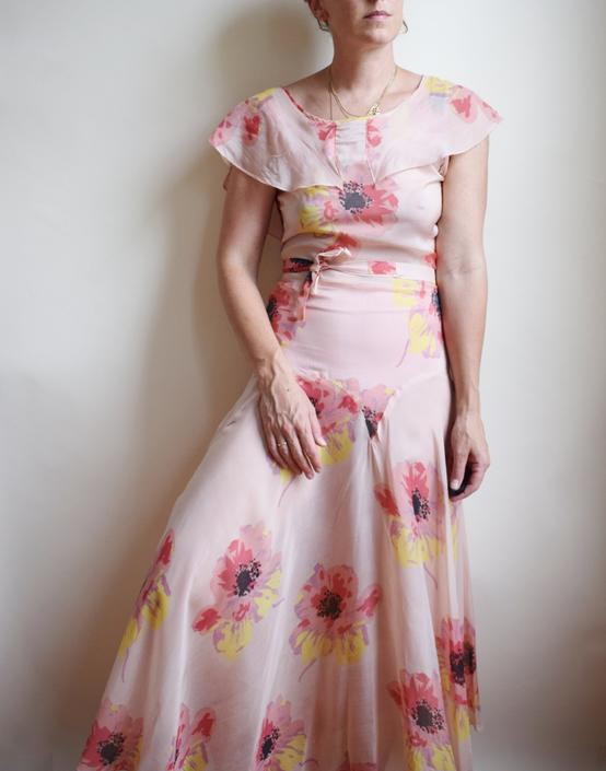 1930s Poppy Print Gown | Vintage 1930s Silky Celanese Gown | Pink with Floral Design | Bias Skirt | Capelet | XS/S by wemcgee