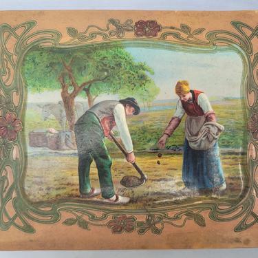 """Antique Art Nouveau Photo Album Featuring Featuring Jean Francois Millet's """"Peasants Planting Potatoes"""""""