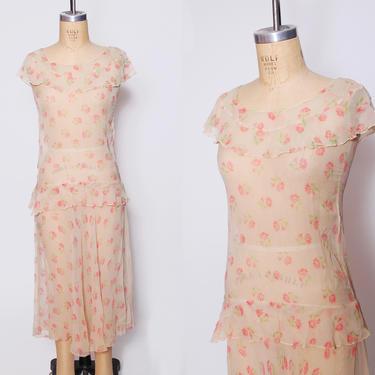 1920s sheer silk chiffon dress / floral chiffon flapper dress / drop waist sleeveless dress / Roaring Twenties dress  / 1920s ruffle dress by ProspectVintageGoods