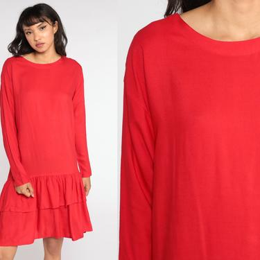 Red Tiered Dress Drop Waist Midi Dress 80s Plain Flounce Dress Vintage Long sleeve 1980s Shift Dress Casual Basic Medium by ShopExile