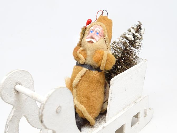 Antique 1940's Santa in Sleigh with Sisal Christmas Tree, Hand Painted Clay Face Santa, Vintage Retro Decor by exploremag