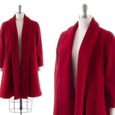 Vintage 1950s Swing Coat   50s Dark Red Wool Long Winter Coat (small/medium) by BirthdayLifeVintage