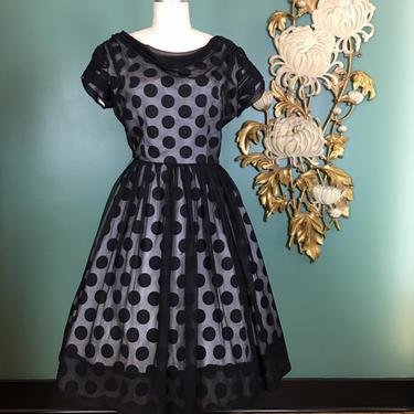 1950s chiffon dress, vintage 50s dress, mrs maisel style, black and white polka dot, size large, rockabilly dress, full skirt, sheer overlay by BlackLabelVintageWA