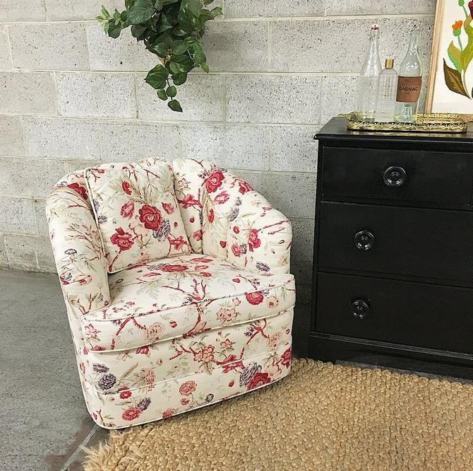 LOCAL PICKUP ONLY Vintage Lounge Chair Retro 1980s Barrel Back Swivel Farmhouse Style Chair With Floral Print + Matching Pillow Living Room by RetrospectVintage215