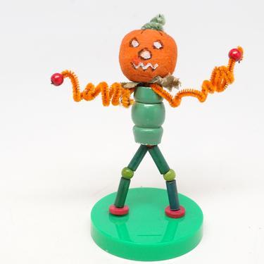 Vintage Halloween Scarecrow Jack-o-lantern Head, Wooden Beads with Spun Cotton Head, Chenille Hands, Retro Toys Pumpkin by exploremag