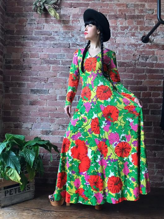 vintage 70s dress | multi colored floral maxi long sleeve dress | bohemian festival dress by LosGitanosVintage