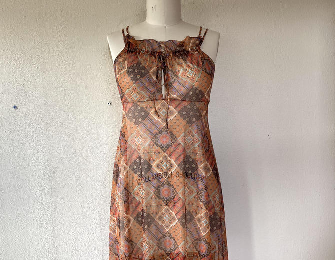 1970s Sheer patchwork print nightgown set by VelvetGoldmineShop