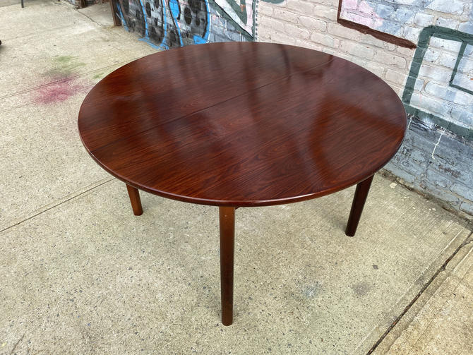 "Vintage mid century modern danish dining dinner table rosewood teak 48"" round beautiful has stow away flip out leaf by symmetrymodern"