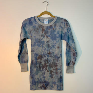 Charcoal blue tie dye vintage thermal by shopjournal