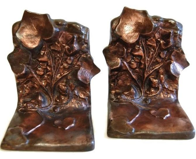 McLelland Barclay Bronze Ivy Bookends Antique Arts & Crafts Rustic Decor Collectibles by Curiopolis
