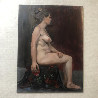 """Vintage Figurative Nude Oil Painting, Untitled, by Kaz Ooka (b 1947, Japan), 12"""" W x 16"""" H by MadCoolNYC"""
