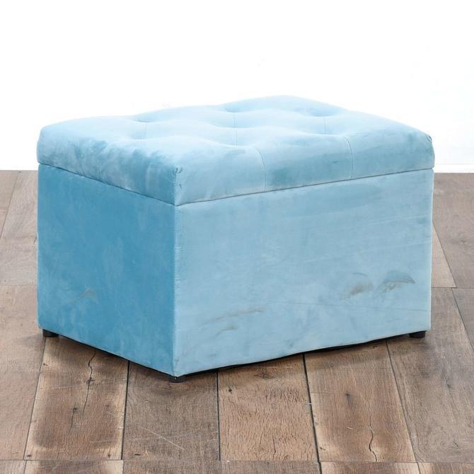 Contemporary Blue Tufted Storage Ottoman