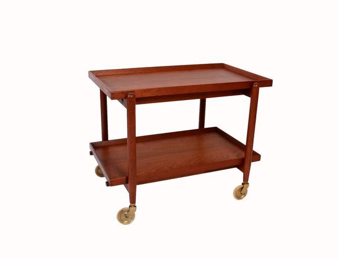 Poul Hundevad  Teak Bar Cart Rolling tea cart  butlers tray danish modern marked Povl Dinesen 60s by HearthsideHome