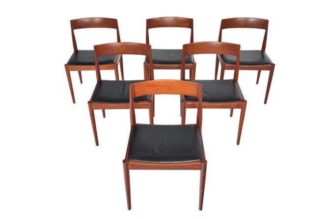 Set of Six Danish Mid Century Modern Kai Kristiansen for Fritz Hansen Teak Dining Chairs by MidCenturyMobler