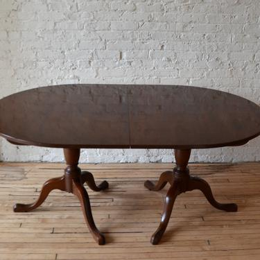 Vintage Baker Queen Anne Double Pedestal Dining Table w/ (3) Leaves by RLChicago