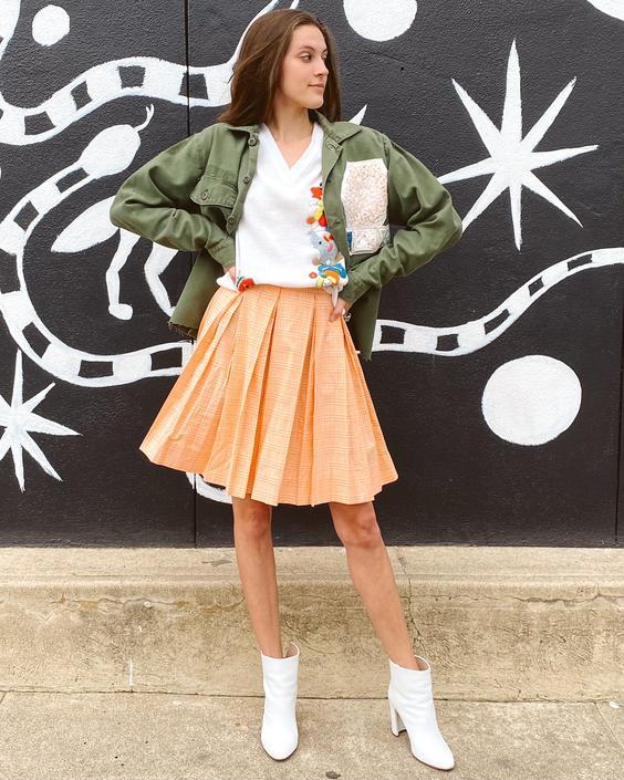 Orange Gingham Pleated Skirt