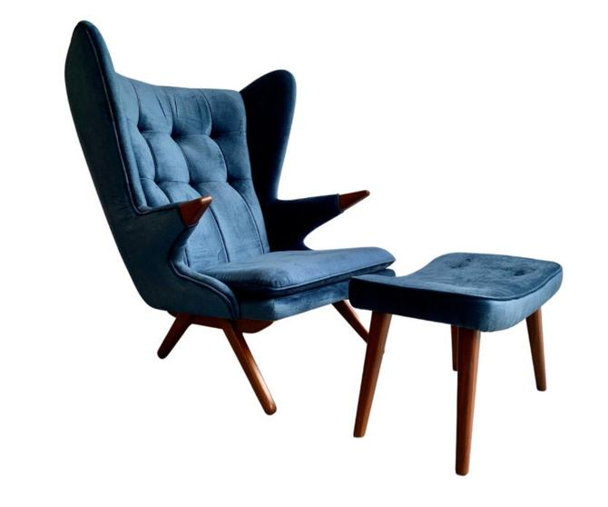 PAPA BEAR styled Mid Century MODERN Lounge Chair in Vibrant Navy Blue by CIRCA60