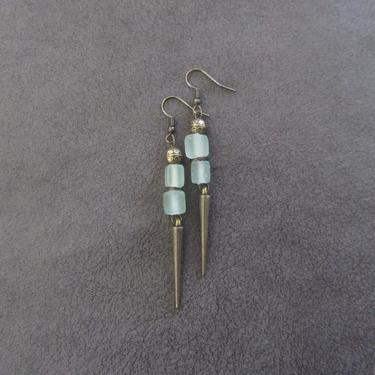 Pale green sea glass earrings, minimalist earrings, tribal ethnic earrings, bold earrings, long geometric earrings, modern statement earring by Afrocasian