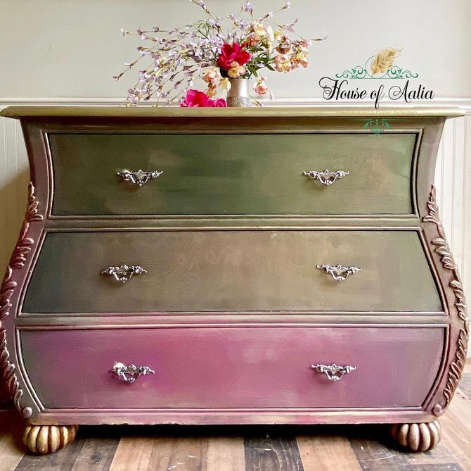Green Gold Fuschia French Provincial Bombe Chest or Dresser. Vintage Chest. Entryway Accent Table. Boho, Eclectic, French Country Bedroom. by HouseofAalia
