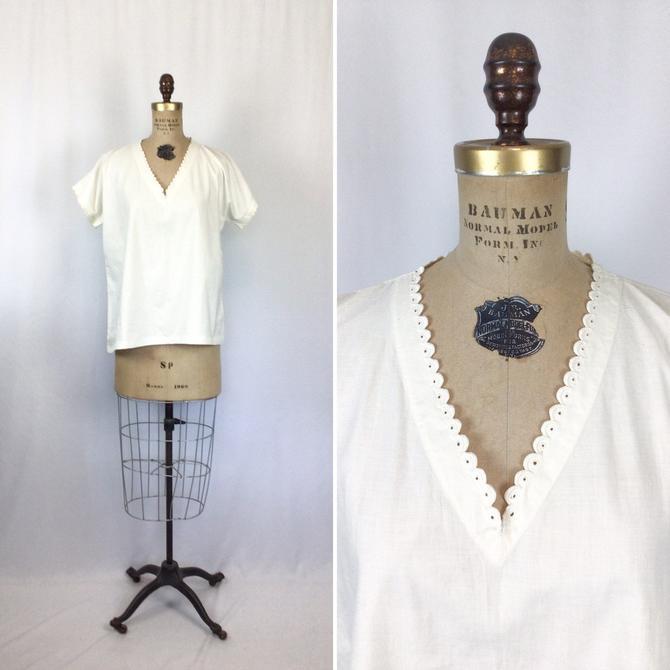 Vintage Edwardian blouse | Vintage white cotton tshirt top | 1910s classic white shirt by BeeandMason