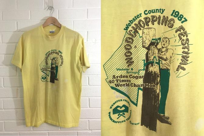Vintage T-Shirt 80s Webster County Woodchopping Festival 1987 1980s Summer Short Sleeve Yellow Hipster Retro Unisex Size Large L Extra XL by CheckEngineVintage