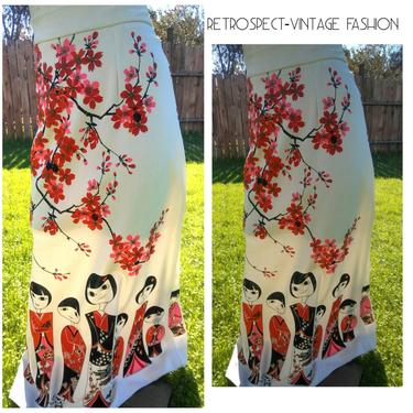 Miss Shaheen maxi skirt hand painted CHERRY Blosso art deco people face design character dress, designer vintage couture,  small, eur 34, s by RETROSPECTNYC