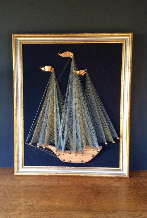 Remarkable MCM 1970s String Art Metal Wire Art Sailboat by nauhaus