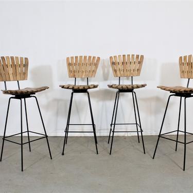 Set of 4 Mid-Century Arthur Umanoff Slat Style Bar Stools by AnnexMarketplace