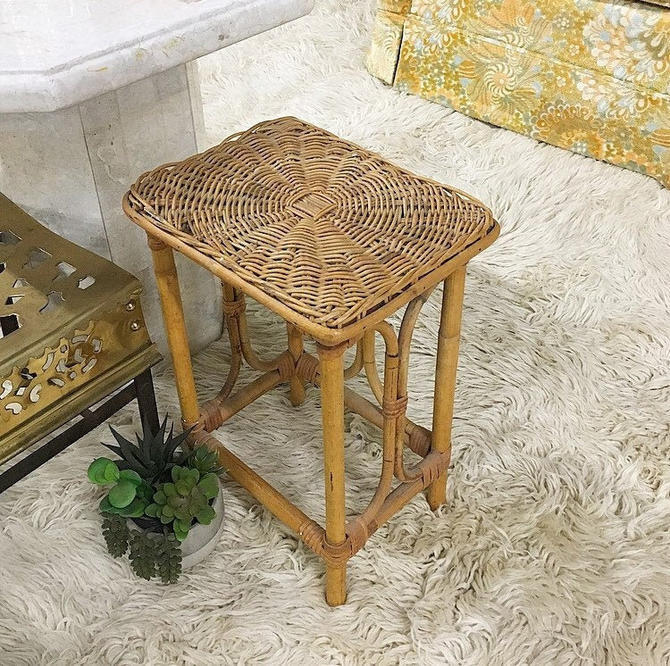 LOCAL PICKUP ONLY ------------ Vintage Rattan Side Table by RetrospectVintage215