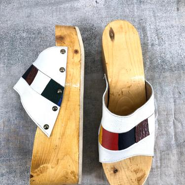 70s PLATFORMS with patchwork leather mules clogs in rare large size 10.5 - 11 vintage 1970s by ritualvintage