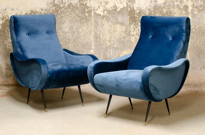 Pair of 1970s Italian Lounge Chairs in the Manner of Marco Zanuso by QueensMCM