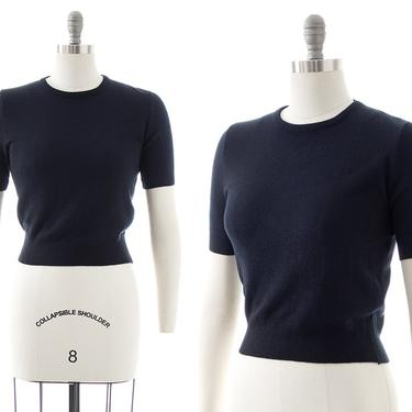Vintage 1950s Sweater Top   50s Dark Navy Blue Knit Acrylic Short Sleeve Cropped Pullover Blouse (small/medium) by BirthdayLifeVintage