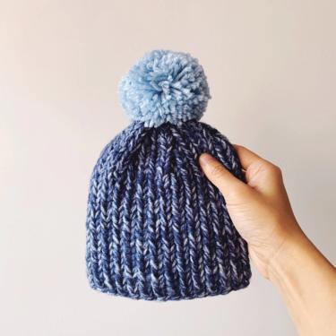 Little Minnows Hand Knit Baby Beanie Hat // Blue Melange with Blue Pompom by mammothandminnow