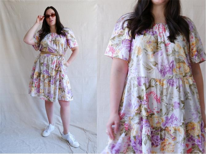 Vintage 80s Floral Tiered Dress/ 1980s White Cotton Boxy Fit Dress/ Size Large XL by bottleofbread