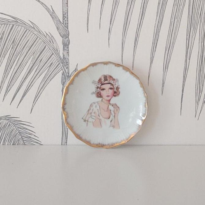 Vintage Trinket Dish, Jewelry Dish, hand painted,Lego Porcelain, made in Japan, circa 30's by colortheoryBoston