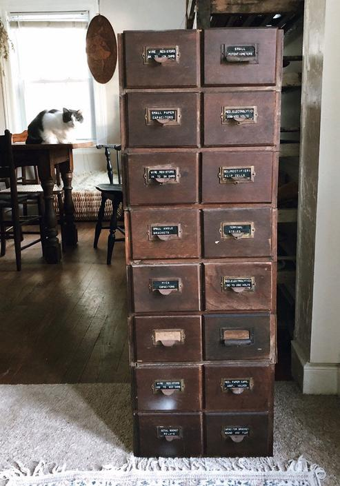 Antique Card Catalogs, wood stackable card catalogs, set of 8 card catalogs, tool storage by VintageandSwoon