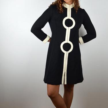 Vintage 60s Dress / Twiggy 1960s Vintage Wool A-Line Dress / 60s Mod / Black Wool White Leather/ 1960s Go Go Mad Men / Medium Small / Mini by ErraticStaticVintage