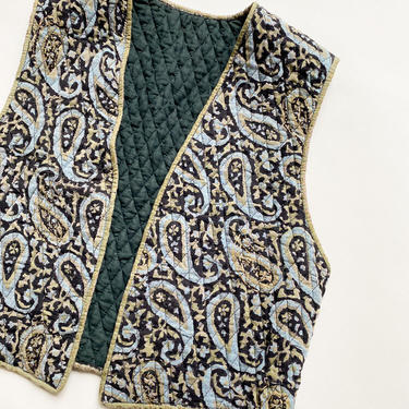 1970s Indian Cotton Quilted Denim Blue Vest by waywardcollection
