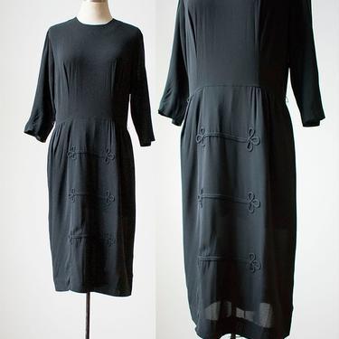 1950s Black Cocktail Dress / Vintage Black Cocktail Dress / Black Longsleeve Cocktail Dress / Little Black Dress Small by milkandice