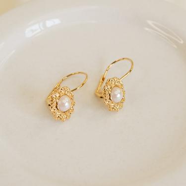 gold flower pearl drop dangle earring, gold earring, gold flower earring, gold dangle earring, vintage flower earring, boho flower earring by melangeblancdesigns