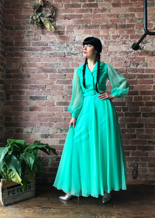 vintage 70s MISS ELLIETTE maxi dress | long sleeve chiffon cocktail gown by LosGitanosVintage