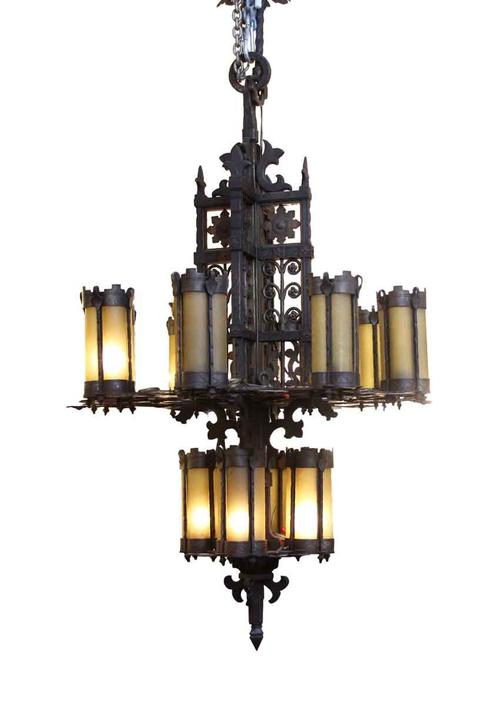 Wrought Iron & Amber Glass Chandelier
