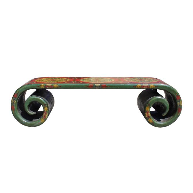 Chinese Tibetan Distressed Red Yellow Green Lacquer Scroll Coffee Table cs5789S