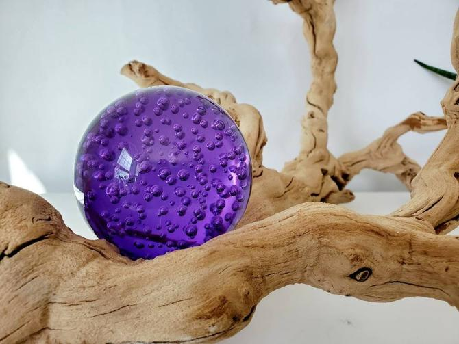 Vintage Amethyst Blown Glass Orb Paperweight by pennyportland