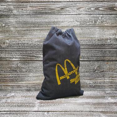 Vintage McDonalds Duffle Bag, Denim Stuffel Bag, 1970's Blue Jean Drawstring Bag, Fast Food Giveaway Pullstring Sack, McDonalds Advertising by AGoGoVintage