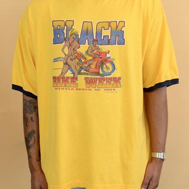 Vintage 2000s Black Bike Week Unisex Yellow Tee Shirt XXL  XXXL Oversize by MAWSUPPLY