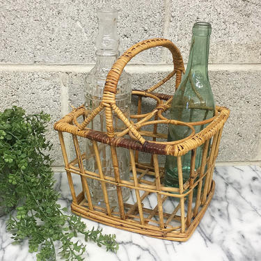 Vintage Wine Basket Retro 1980s Bohemian + Rattan and Straw + Carrier + Holds 4 Bottles + Bottle Caddy + Boho + Home and Kitchen Decor by RetrospectVintage215